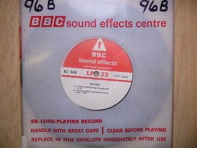 "BBC Sound Effects 7"" Record - Boxing, Sparring, 2 Heavyweights in Gym, Bell, Etc"