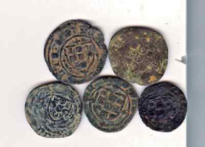 Cincin 19.Rare lot 5 Coins  Portugal Medieval,to identify uncleaned