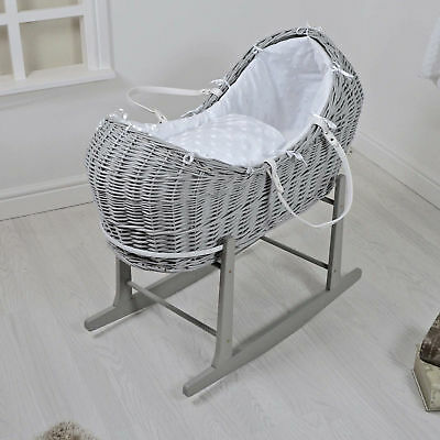 New 4Baby Grey Wicker / White Dimple Stars Padded Snooze Pod & Rocking Stand
