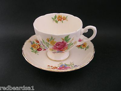 Plant Tuscan Tea Cup Saucer Vintage English China Pink Floral Rose c1930s 7248H