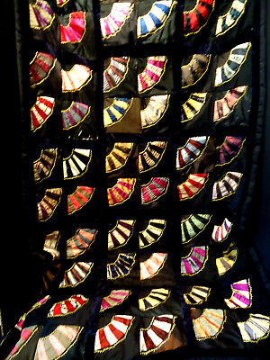 Antique Victorian Fan Embroidered Crazy Quilt Lap Child Colored Silks on Black