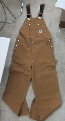 New With Tag Carhartt Bib Overalls Brown Traditioinal Duck Size 38X34 38 X 34