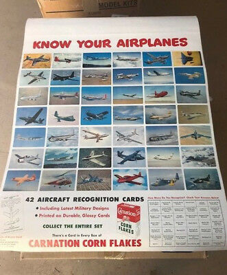 "Original 1953 Carnation Corn Flakes ""KNOW YOUR AIRPLANES"" Market Poster Mint New"