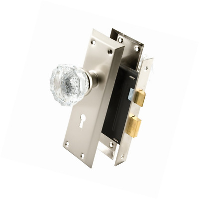 Defender Security E 2496 Keyed Mortise Lock Set with Glass Knobs, 2-3/8 in. Back