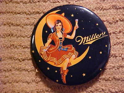 """MILLER BEER- old style logo ad-""""The Girl In The Moon"""" 2 1/4"""" pinback buttton"""