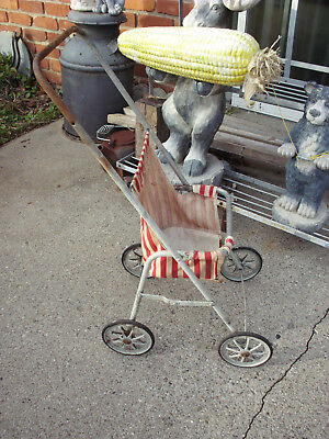 """Antique Welsh Easy-Fold Collapsible Baby Stroller Carriage W/metal Rims 28"""" Tall"""