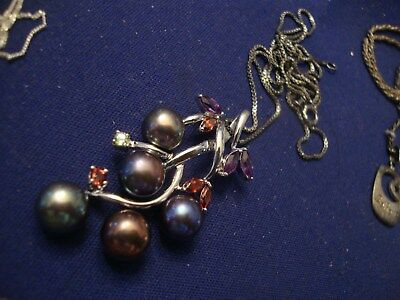 Grandmas  Estate  Beautiful  Sterling Silver   Real Pearls Ruby Necklace