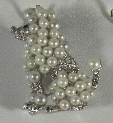 White Pearl Clear Crystal Silver Plated Sitting Poodle Dog Pin Brooch