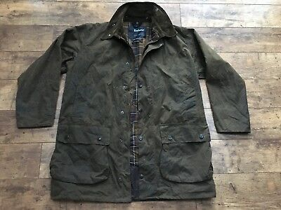 Men's Barbour Northumbria Brown Sylkoil Wax Long Jacket Size 44