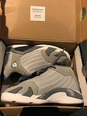 Nike Air Jordan Retro 14 XIV Wolf Grey / Sport Blue Boys Size 13C