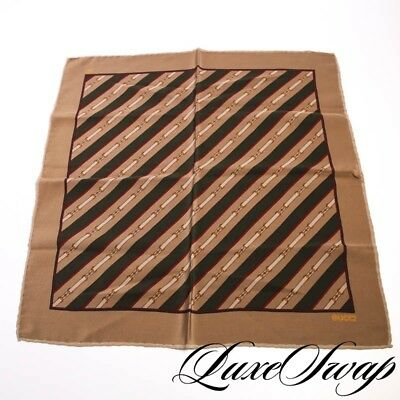 Vintage Gucci Tan Red Green Horsebit Racing Stripe Belted Pocket Square NR LUXE