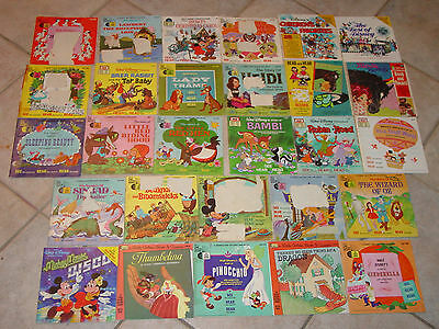 Lot Of 28 Children's Record And Read Along Books Walt Disney, Sold As Is!