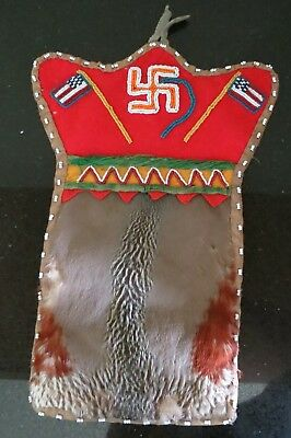 Woodlands Haida  Indian vintage beaded bag whirling logs american flag feathers