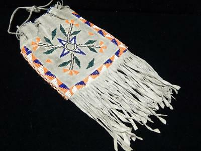 Vintage Mescalero Apache Indian Beaded Both Sides Hide Pouch - Nice Size + Nr !