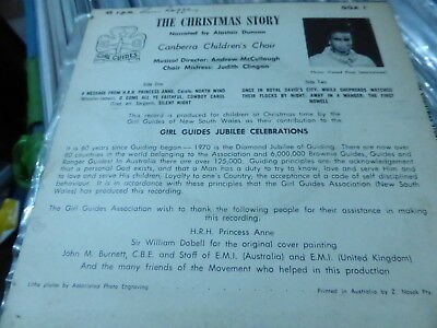 "Christmas Story Canberra Childrens Choir 7"" H.R.H Princess Anne 1970"