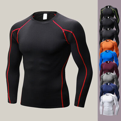 Mens' Compression Tight Skin Long Sleeve Shirt Fitness Bodybuilding Base Tops