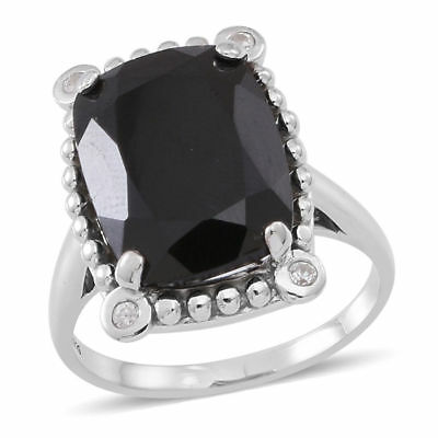 Boi Ploi Black Spinel, White Zircon Ring in Rhodium Plated Silver 12.5 Ct