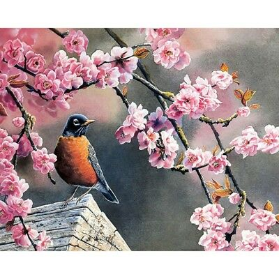 Pink Flower Bird Hope Paint By Numbers Unframed Oil Painting On Canvas Wall Art