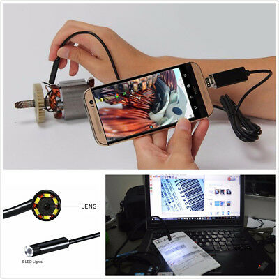 5m Cable 7mm 6LED Waterproof 2in1 Car Offroad Endoscope USB Inspection HD Camera