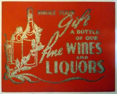 """Vtg 11x14"""" General Store Red Trade Sign Wines & Liquors for Christmas c1930s"""