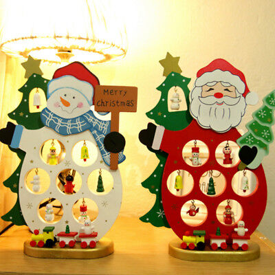 Christmas DIY Cartoon Wooden Santa Claus Snowman Ornament Table Decoration Gift