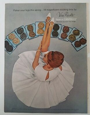 1964  women's Van Raalte stockings Hosiery legs redhead white dress ad