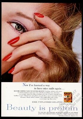 1960 Knox Gelatine woman with nice finger nails photo vintage print ad