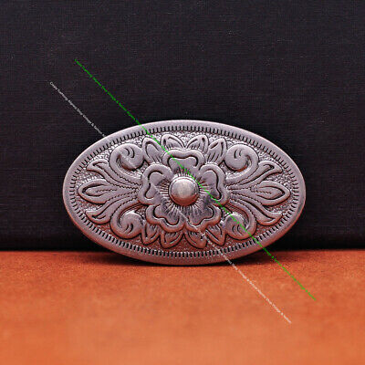 5pc 43*26MM Oval Celtic Flower Tandy Leathercraft Silver Belt Conchos Screw back