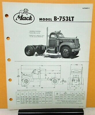 1958 Mack Truck Model B 753LT Specification Sheet Chassis Diagram on Front Page