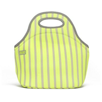 BUILT NY Gourmet Getaway Lunch Bag Insulated Neoprene Neon Strip Lime