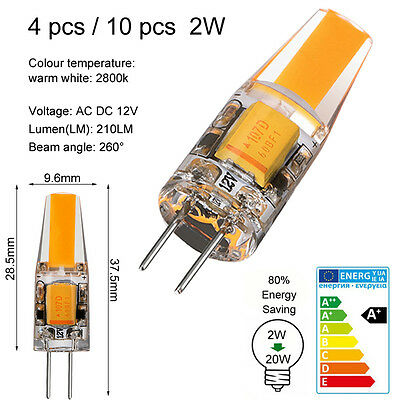 4X 10X G4 COB 1.2W 2W LED Bulb Light AC DC 12V Warm White Replace Halogen Lamp