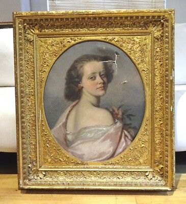 Large 19th Century English Portrait Of A Girl Pink Dress Antique Oil Painiting