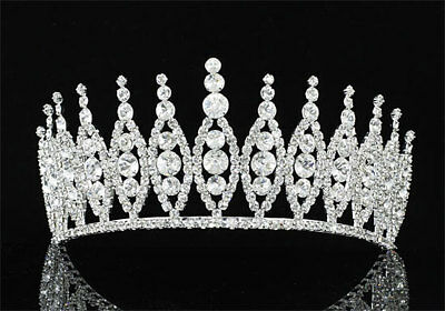 Bridal Pageant Beauty Contest Sparkling Tiara Round Crystal Crown AT1298