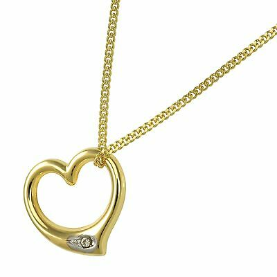 Jewelry Set 333 Gold Curb Chain + Heart Pendant Swinging New (11130 / 42+6752)