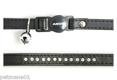 Ancol cat safety collar Black Jewel Leather look + Bell