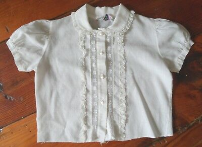 Hickory Dickory Girl VTG Top Blouse shirt White Ruffle lace short sleeve button