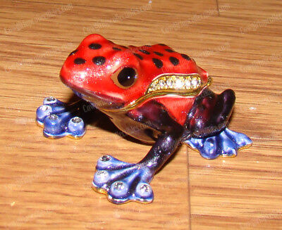Red POISON DART FROG (Wildlife Collection, 3386) Bejeweled Enamel Trinket Box