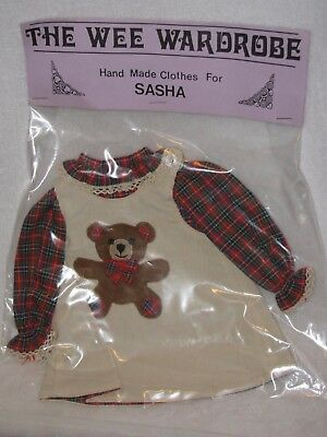 "Tan Corduroy Dress W/Plaid Long Sleeve Top Clothes To Fits 16"" Sasha Doll"