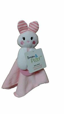 Dream & Play Baby Teething Ring,Crinkled Ear Lovey Snuggle Blanket Pink