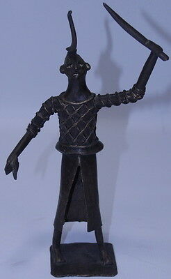 Primitive African Tribal Ethnic Dahomey Bronze Hunter Figure Sculpture Statue