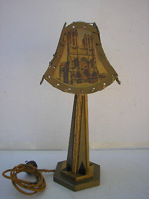 Vintage Painted Wood Art Deco Table Lamp w/Painted Paper Shade