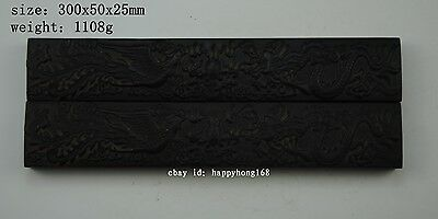Old Chinese huanghuali wood Carved Dragon Phoenix Calligraphy Tools Paperweight