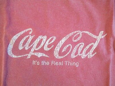 Cape Cod It's The Real Thing In Coca-Cola Font Logo Men's Xl Faded Red T-Shirt