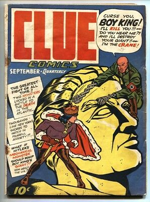 Clue Comics #5-1943 Hillman Golden-Age NAZI punching! Hitler app-Comic book