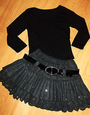 GIRLS BLACK TOP & GREY SPARKLY GLITTER PRINT RUFFLE SKATER PARTY SKIRT age 3-4