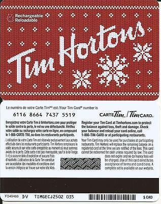 New Christmas Tim Hortons 2015 Mint Gift Card From Canada Bilingual No Value