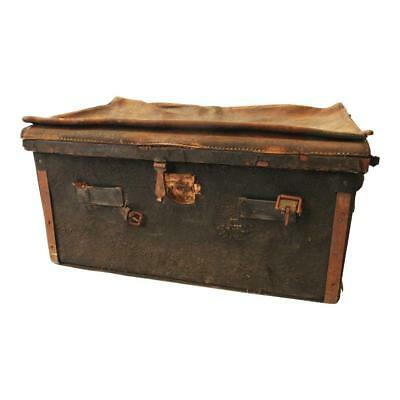 Vintage WEATHERED LEATHER TRUNK train luggage chest antique storage cabin decor