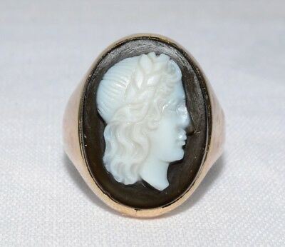 10K Solid Yellow Vintage Inspired Black & White Greek Roman Cameo Ring Size 5