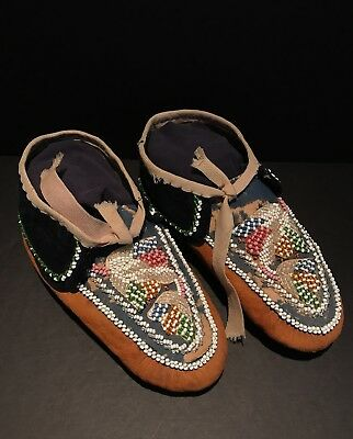 Remarkable c1900 PAIR MOHAWK MOCCASINS, Beaded Leather, Excellent