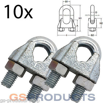 5 x 10mm Galvanised Steel Wire Rope Clips DIN1142 Bulldog grips recovery winch